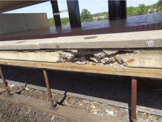 Structural damage at Braddock Road Metro Station.