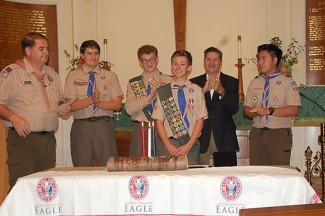 Michael Turk, Scoutmaster; Chris Barre; Kyle Herbert; Caleb Himes; Jim McCleary, Eagle Scout Counselor; and Brian Le.