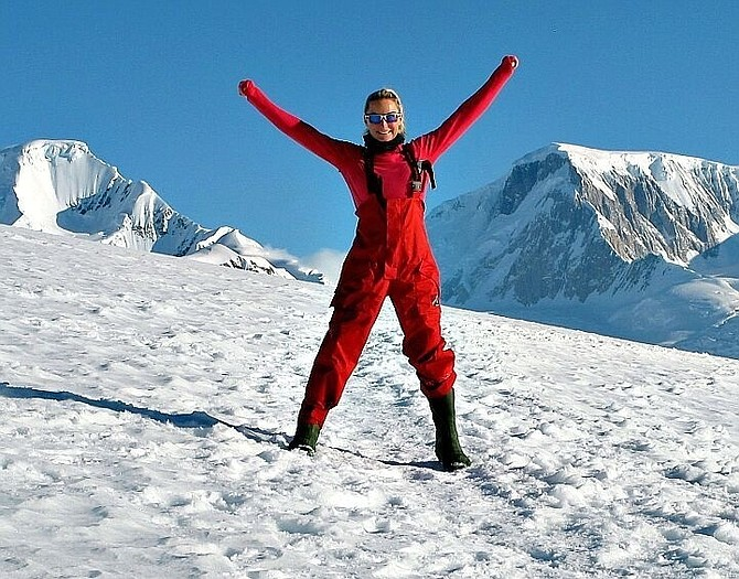 Brooke Sydnor Curran celebrates after winning the women's title in the 2012 Antarctica Marathon. Curran will compete in the Oct. 28 Marine Corps Marathon just six months after suffering a brain aneurysm.