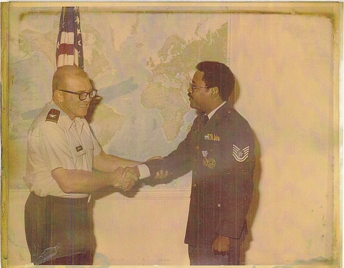 "Master Sergeant Charles ""Buddie"" R. Napper receiving an award from the Joint Chiefs of Staff in 1978."