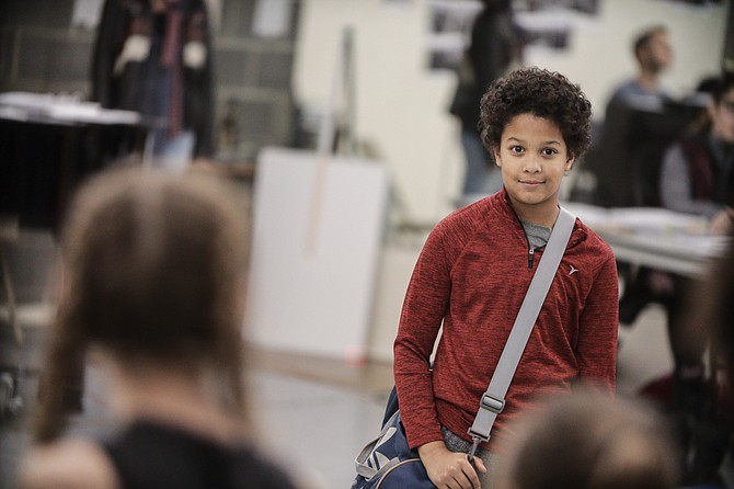 "Owen Tabaka in rehearsal for ""Billy Elliot The Musical"" at Signature Theatre."