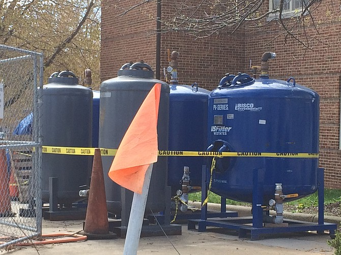 Some of the equipment in use in Spring of 2016 to address groundwater contamination at a former gas station. Great Falls Citizens Association closely monitored the cleanup, and now agree that there is no ongoing threat to groundwater.