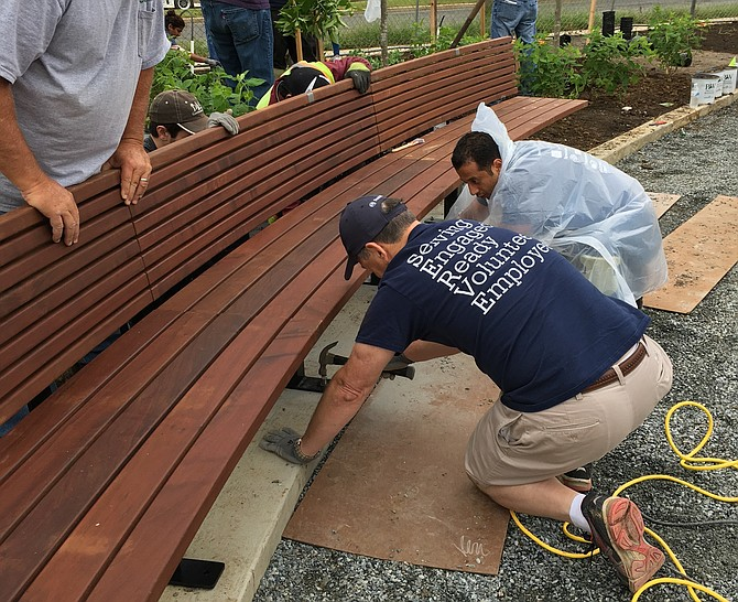 Volunteers made repairs to the Commonwealth Avenue Park, located at the intersection of Commonwealth and Reed Avenue.