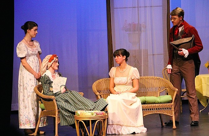 From left, Madeline Moran, Hannah Khan, Alexandra Wai and Peter Heller in the Flint Hill School performance of 'Pride and Prejudice.'