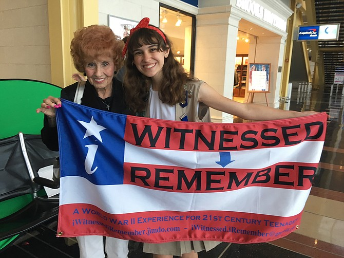 Elinor Otto, 99. a real-life Rosie the Riveter, pictured with Madeleine LeBeau, the founder and president of iWiRe.