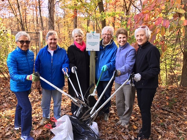 American Association of University Women Adopt-A-Spot trail cleanup team near Uplands Pool: From left, Stephanie Abbott, Betty Podol, Fran Lovaas, Janine Greenwood, Judy Ornoff, and Diane Mero, President of AAUW of Reston-Herndon.