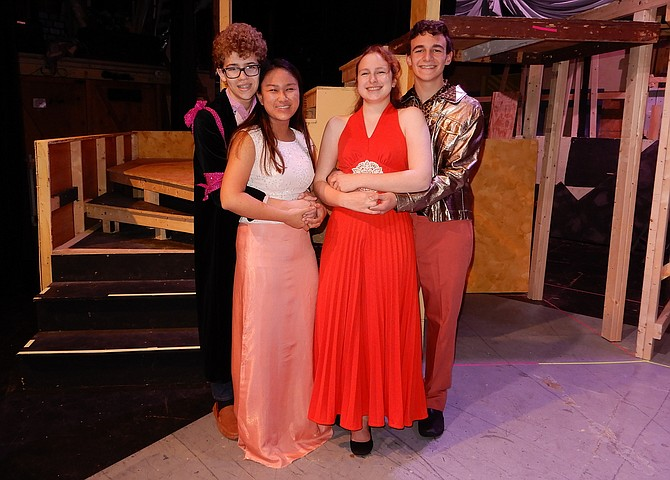 From left, Jak Ketron, Maddie Mangilit, Emma Hitchcock and Adam Hill portray the play's leading characters at a costume party.