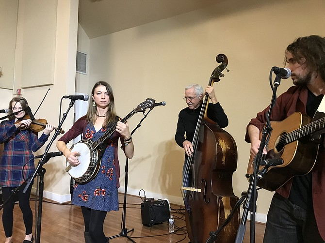 "The Gina Furtado Project plays during the 2018-2019 Bluegrass Barn Series at Frying Pan Park. ""The audience clearly loved the music and are supporters of LIVE music,"" said singer-songwriter and acclaimed banjo player, Gina Furtado, named a nominee for the International Bluegrass Music Association (IBMA) Banjo player of the year."