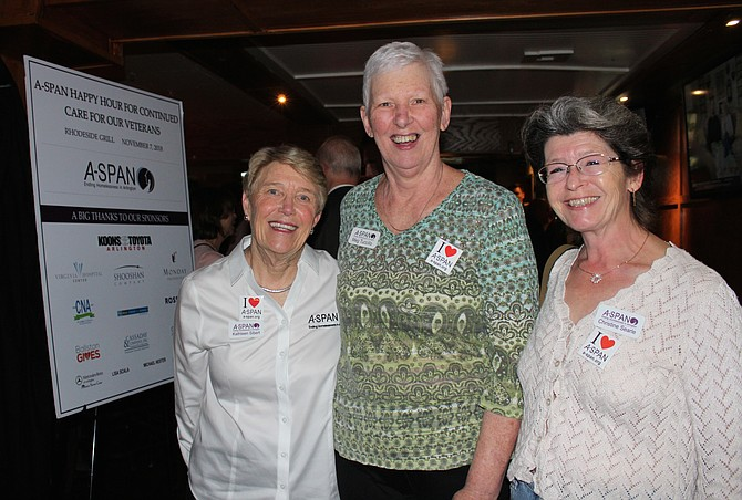 From left: Kathy Sibert, executive director and CEO of A-SPAN with board members  Meg Tuccillo and Christine Searle at the Happy Hour for Continuing Care for Our Vets.