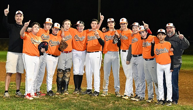 Orioles pictured after winning Championship. From left: Tom DePaul (Coach), Noah Slivka, Jack Turner, Will Rowe, Kevin Adamson, Kaden Dillon, PJ Milton, Evan Stegenga, Ian DePaul, Louis Genovese, Finn McConville, Nathan Kiochandra, and Bruce Dillon (Assistant Coach).  Not pictured:  Blayden Woodruff.