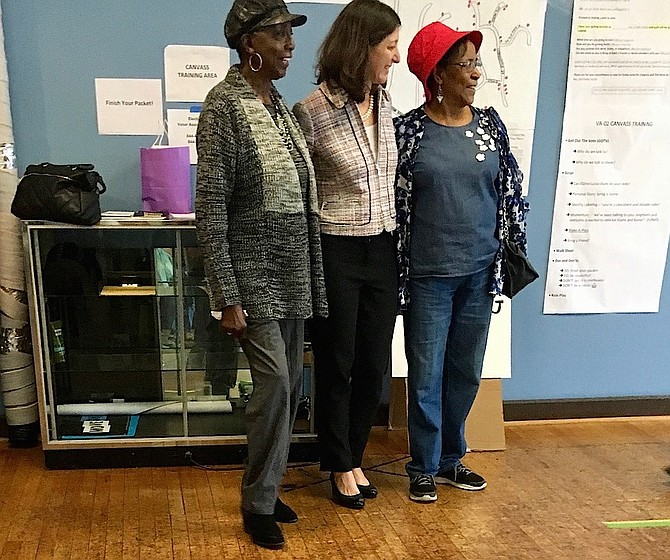 Elaine Luria honored two of her oldest canvassers, Marjorie Davis, 92, far right, and June Baines, 82, left.