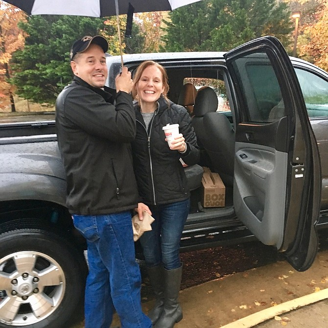 Arlington poll greeters who had travelled to Occoquan to help out were impressed by the kindness of Michael and Sarah Mishler, who drove to each polling station handing out free, hot coffee and donut holes.