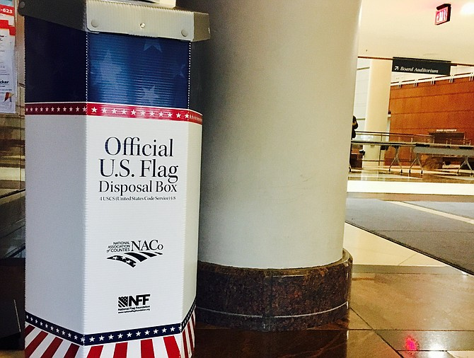 Fairfax County announced that the Fairfax County Government Center, located at 12000 Government Center Parkway, Fairfax, has a new flag disposal box located near the main information desk.