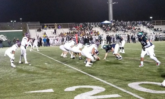 South County defensive end Haris Khan (13) had one of 11 Stallion sacks against Lake Braddock on Nov. 9.