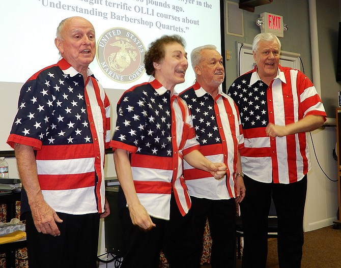 Sympatico, a barbershop quartet with the Fairfax Jubil-Aires, performs patriotic songs.