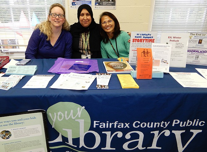 Representing Chantilly Regional Library are (from left) Jennifer Tchida, Chahinaz Bouzid and Loan Tran.
