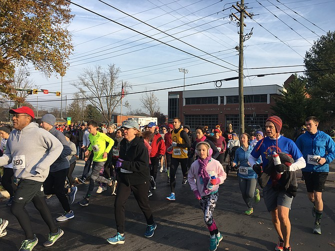 Runners set off from Vienna's Volunteer Fire Department on Nov. 18 for the town's annual Turkey Trot.