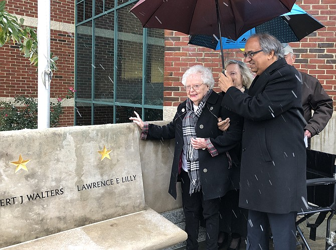 Gold Star mother Jeanette Lilly, 93, stands near the newly unveiled memorial to her son, 1st Lt. Lawrence Lilly, at the Capt. Rocky Versace Plaza and Vietnam Veterans Memorial Nov. 15 in Del Ray. Lt. Lilly was shot down over Cambodia in 1971 and is one of seven POW/MIAs from Alexandria.