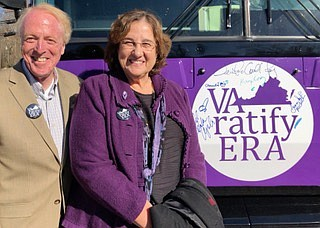 State Sen. George Barker and ERA supporter Jane Barker at Clifton ERA bus stop.