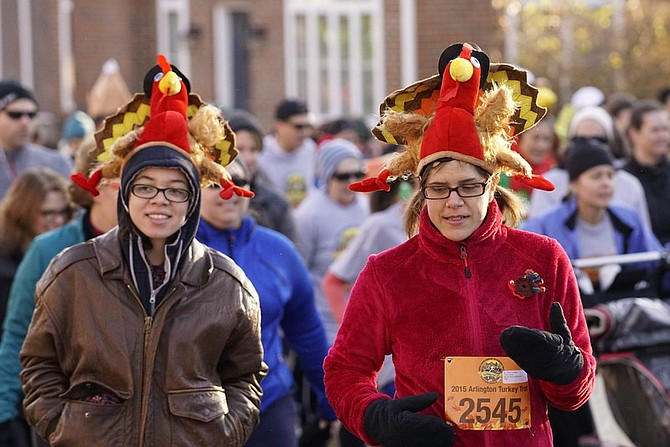 Two Arlington runners completed the race in turkey hats.