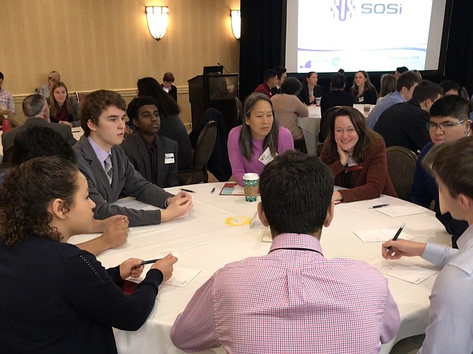 South Lakes High School students discuss the dilemma in an organ donation during Ethics Day 2018, a program presented as a partnership between Greater Reston Chamber of Commerce and South Lakes High School.