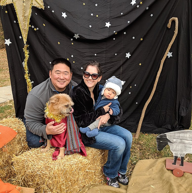 The Third Annual Puppy Nativity will be held Dec. 8 at The Church of the Good Shepherd (United Methodist) in Vienna. Pastor Eric Song, shown with his family and their dog, started the event as a creative way to involve the community in celebrating the Christmas season.