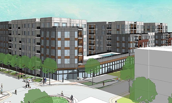 This rendering depicts the front of the new, seven-story, 308-unit apartment building at 1941 Roland Clarke Place, owned by Woodfield Acquisitions. On Nov. 20, Fairfax County Board of Supervisors approved the new building, located in the Planned Residential Community District, according to Reston Land Development Tracker January 2017.