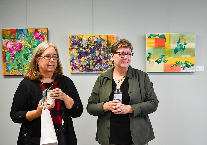 Becky Todd York of Vienna introduces Alice Nodine at Sunday, Dec. 2 Artist Reception and Talk at The Gallery at the Church of the Good Shepherd (United Methodist), 2351 Hunter Mill Road, Vienna.