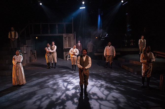"From left, Russell Rinker, Karma Price, Billie Krishawn, Ayanna Hardy, Suzy Alden, Gary L. Perkins III, Joshua Simon, Demitrus Carter, Rebecca Ballinger, and V. Savoy McIlwain in ""A Civil War Christmas: An American Musical Celebration"" at 1st Stage."