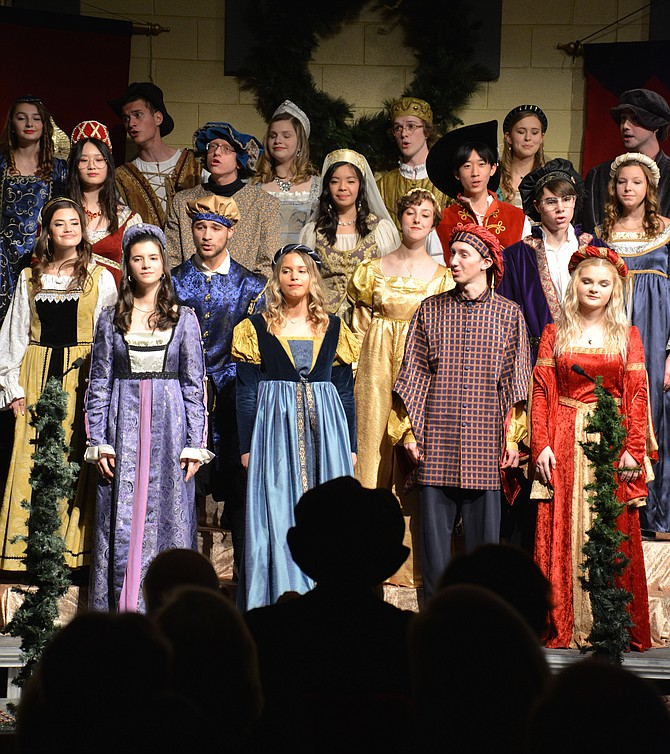 The Langley High School Madrigal Singers outdid themselves at the 17th annual edition of the Choral Department's Renaissance Feaste. Harmonious madrigals, a bit of history, and the antics of a couple of jesters entertained a packed house of guests during the themed dinner.