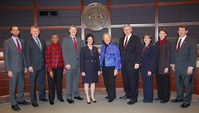 Sharon Bulova with the Board of Supervisors.