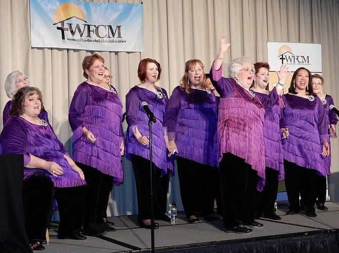 The Potomac Harmony Chorus entertained the crowd at WFCM's annual dinner.