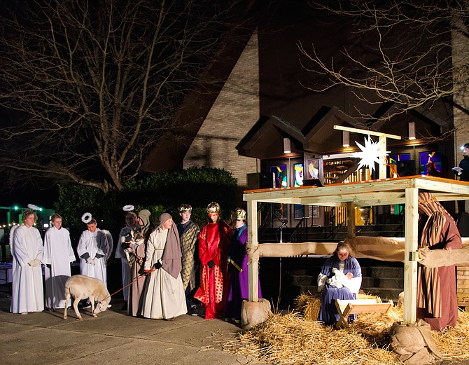 St. James' Episcopal Church transformed the church grounds into the Living Nativity. Participating are Zoe and Allan Cardno, Sammy Hicks, Colin Murphy, Sami and Daniel Huck, Ethan D Nayback, Stevie and Jack Linehan-Reckford, Carter Jones, Melissa Ervin and Claire Throckmorton. The Sunday, Dec. 16 event included live animals, a petting zoo, Christmas carols, cookies and warm cider.