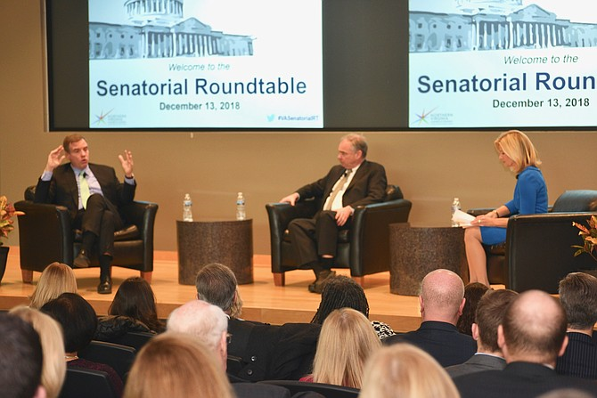 U.S. Senators  Mark Warner and Tim Kaine and NBC4 News Virginia Bureau Chief Julie Carey trade questions and answers at a discussion hosted by the Northern Virginia Chamber of Commerce.