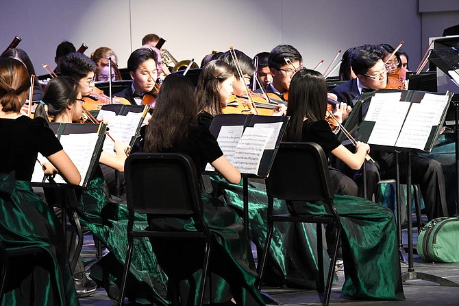The violins and violas of the Langley High School Philharmonic Orchestra dazzle their audience with music of famous Austrian composers.