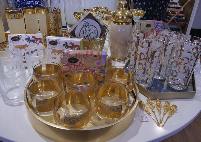 The Hour Shop offers sparkling vintage glassware in 24-karat gold.