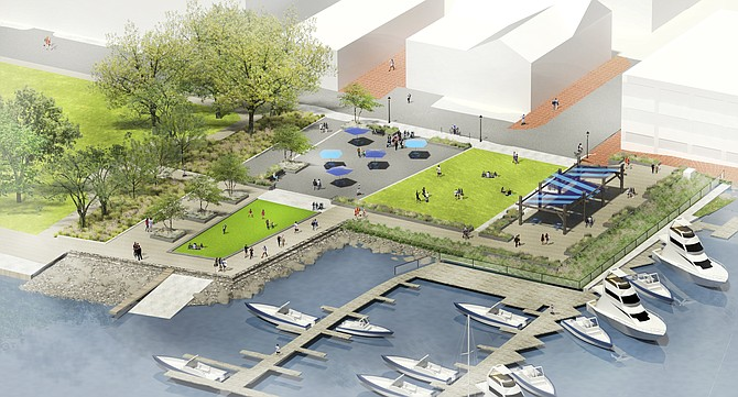 Design concept of what City Council has now officially named Waterfront Park. It was earlier conceived as two adjacent parks, Waterfront Park to the south, Fitzgerald Square to the north.