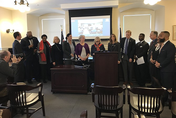 Democratic legislators meet to discuss school safety and gun violence.