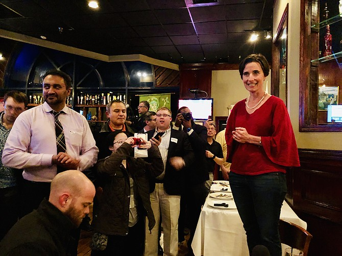 Senator-elect Jennifer Boysko (D-33) delivers a victory speech at O'Faolains Irish Pub in Sterling, vowing to fight for the Equal Rights Amendment and redraw Virginia's legislative maps before this November's elections.