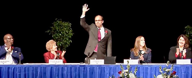 Justin Wilson, after taking the oath of office as Alexandria's new mayor.