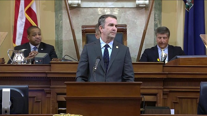Gov. Ralph Northam gives his second State of the Commonwealth Speech before 140 members of the 2019 General Assembly, on Jan. 9.