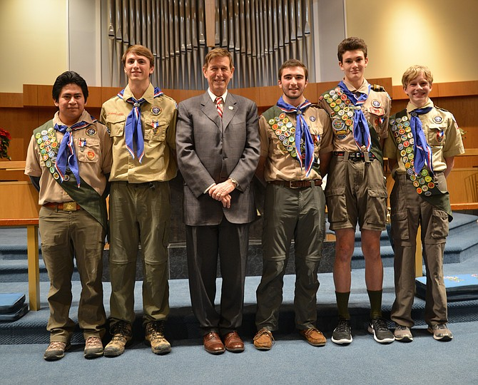 The newly minted Eagle Scouts of Troop 652 pictured with U.S. Rep. Don Beyer (D-8), the keynote speaker at their induction ceremony on Jan. 7 at St. Dunstan's Episcopal Church in McLean. From left: Luis Gentry, Henry McCarthy, Rep. Beyer, Will Greenwood, Eric Mizusawa and Grant Halla.