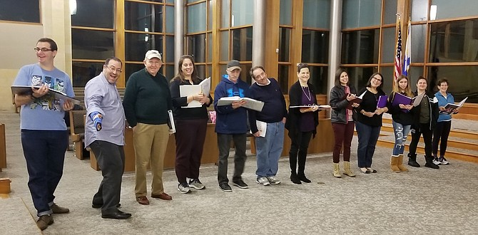 Rehearsing a dance scene (from left): Scott Kaplowitz, Craig Ginsburg, Ed Hutman, Betsy New-Schneider, Andy Zuckerman, Donald Hurwitz, Barbara Weckstein Kaplowitz, Stacy Silberman Garson, Toby Holtzman, Kayla Pitch, Sarah Eisenberg, and Kandy Hutman.
