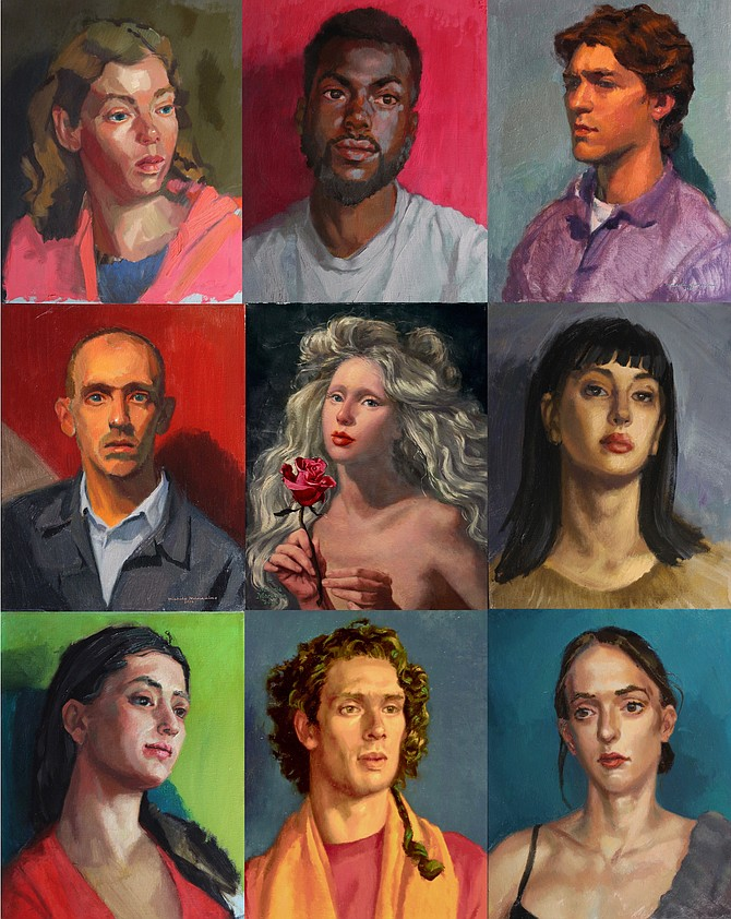 Michela Mansuino's contemporary portraits are on exhibit at The Old Brogue and Katie's Coffee House during the month of February, 2019.