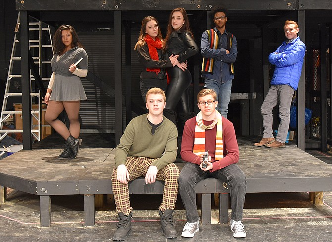 The cast during rehearsal: (Back row, from left) are Bridgette Carey (Mimi), Lauren LeVine (Joanne), Keeley Rogers (Maureen), Breon Atkins (Collins) and Harry Schlatter (Benny); and (in front, from left) are John Henry Stamper (Roger) and Colin Brown (Mark).