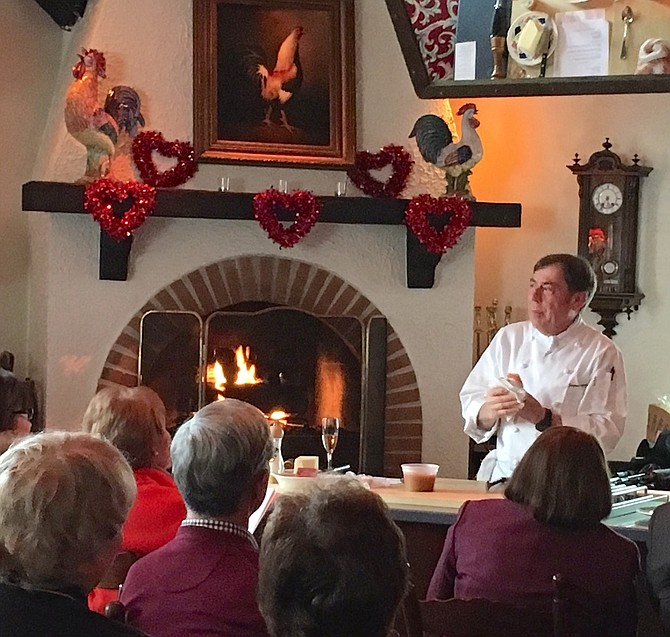 Chef Jacques Haeringer leads one of his annual romantic cooking demonstration and luncheons last Valentine's Day at L'Auberge Chez François.