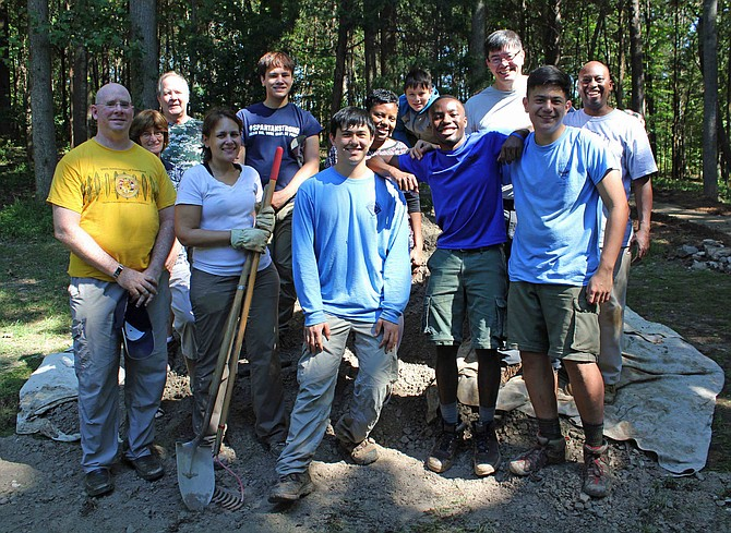 Members of the troop who worked on the nature trail. Joshua Britt is second from the right, front row.