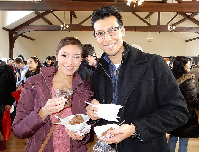 Tiffany Calderin and Jimmy Ayala got chocolate-brownie ice cream, chocolate-covered bananas, vanilla-bean ice cream and truffles.