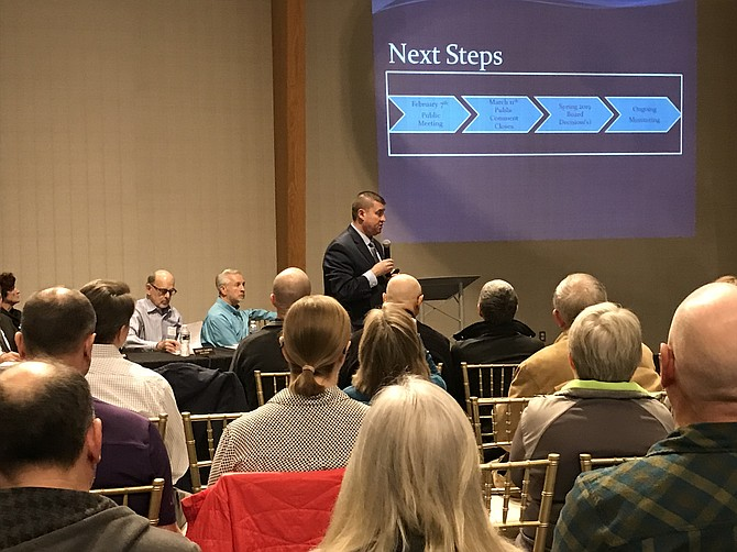 Attendees at the NOVA Parks and Fairfax County Park Authority joint public meeting listen to Presenter Chris Pauley as he describes the proposed changes.