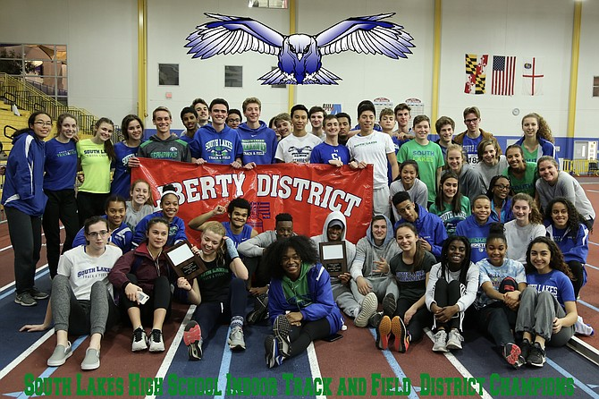 District champions: South Lakes High School athletes win their 11th consecutive Liberty District Indoor Track and Field Championship.